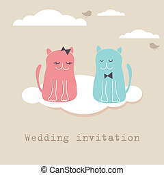 Bridal shower invitation card with two cute cats sitting on the present boxes