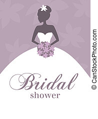 Bridal Shower Invitation - Illustration of a young elegant...