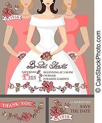 Bridal shower invitation set.Bride,bridesmaids,cute floral...