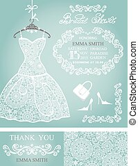 Bridal shower invitation set.Winter wedding,lace dress -...