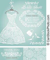 Bridal shower invitation set.Winter wedding,lace dress -...