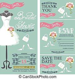 Bridal shower invitation.Bridal dress,bouquet,accessories set