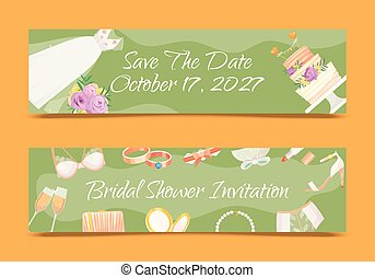 Bridal shower invitations set of banners vector illustration. Save the date. Wedding accessories such as flower bouquet, dress, glasses with champagne, cake, underwear, shoes.