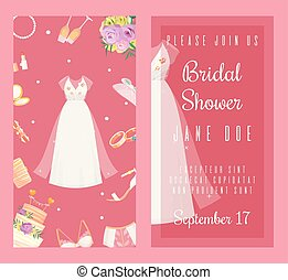 Bridal shower invitations set of banners vector illustration. Wedding accessories such as flower bouquet, dress, glasses with champagne, cake, underwear, shoes, engagement rings.