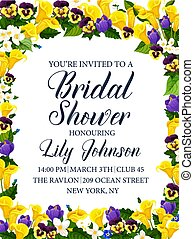 Bridal shower party or wedding ceremony invitation