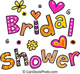 Bridal Shower - Hand drawn and coloured whimsical cartoon...