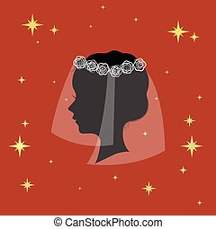 Bridal veil icon in cartoon style isolated on white background. Bride symbol stock vector illustration.