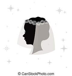 Bridal veil icon in monochrome style isolated on white background. Bride symbol stock vector illustration.