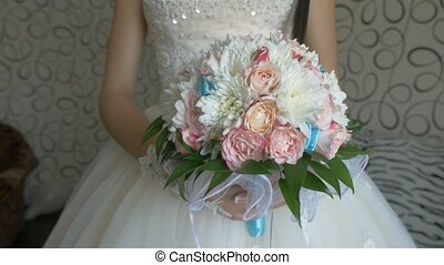 bridal video bouquet of white roses and blue colors in the lace