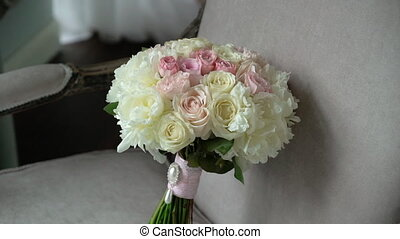 Bridal wedding bouquet with pink and white roses - Bridal...