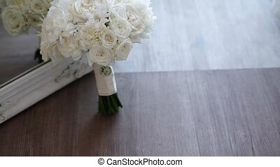 Bridal wedding bouquet with white roses