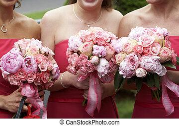 bridal wedding flowers and bouquets - three brides maid...
