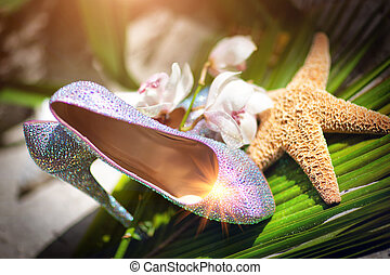 Bridal wedding shoes with diamante near the starfish, white ...