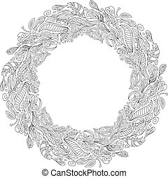Bridal wreath of forest poppies flowers wild berries, wreath for bride. Vector Hand drawn artwork. Love concept for wedding invitations, cards tickets branding logo label. Coloring book page for adult