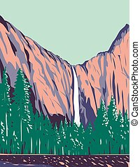 Bridalveil Fall the Most Prominent Waterfalls in Yosemite Valley Within Yosemite National Park California USA WPA Poster Art