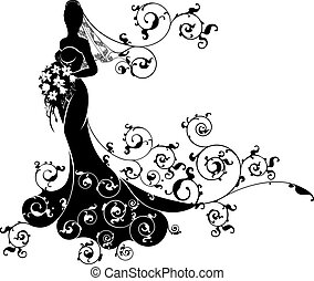 Bride Abstract Wedding Silhouette Design