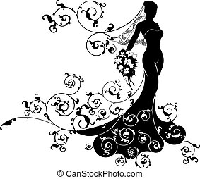 Wedding bride wife in silhouette, the bride in a veil and bridal dress gown and an abstract floral pattern holding a wedding bouquet of flowers
