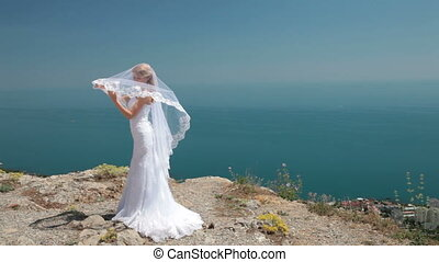 Bride against the sky