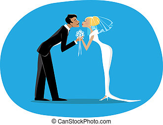Bride and a bridegroom kissing