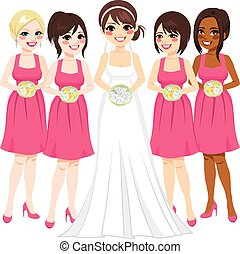 Bride And Bridesmaid - Beautiful young bride with friends...