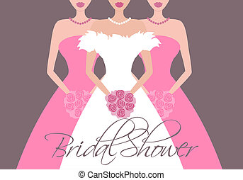Bride and Bridesmaids in Pink - Vector illustration of a...