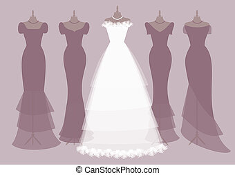 EPS 10 vector illustration of four bridesmaids' dresses and a bride's dress. Elements are grouped and placed on separate layers for easy editing.