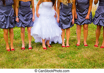 Bride and Bridesmaids with Red Shoes