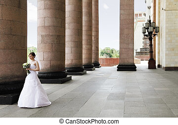 Bride and columns