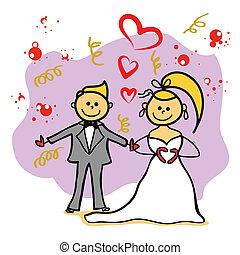 bride and gloom marriage cartoon character