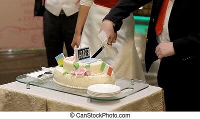 Bride and goom cut the wedding cake