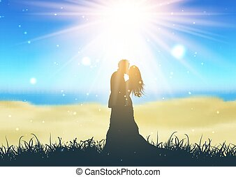 Silhouette of a bride and groom against a defocussed beach landscape