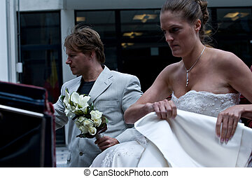 bride and groom are arriving on their wedding - Bride and...