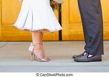 Bride and Groom at Catholic Church - Bride and groom...