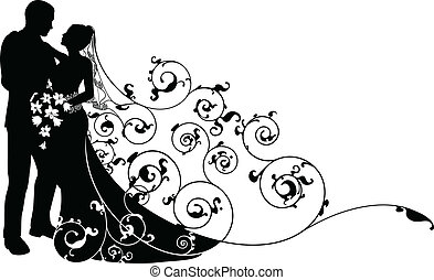 Bride and groom background pattern silhouette - Bride and...