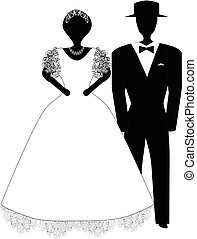 Bride and groom. Black white silhouette. Vector illustration on isolated background.