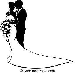 Bride and groom wedding couple in silhouette with white bridal dress gown holding a floral bouquet of flowers