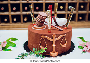 groom cake topper couple with legal gavel