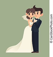 bride and groom, Cartoon character, Vector illustration.