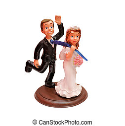 Bride and groom comic figures