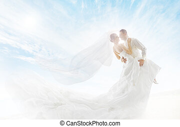 Bride and Groom Couple Dancing, Wedding Dress Long Veil