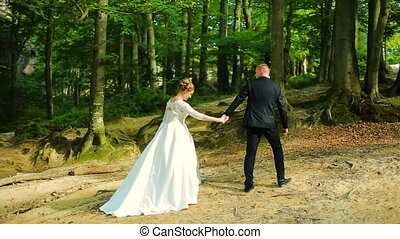 Bride and groom. Couple walking in the forest. Wide view....