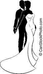 Bride and Groom Couple Wedding Silhouette