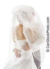 Bride and Groom Covered Veil, Wedding Couple Kissing
