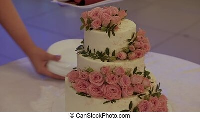 Wedding cake. Traditional celebration dessert at the party. Bride and groom cut piece.
