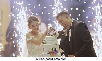 Bride and groom cut the cake and feed each other and laugh on their wedding day