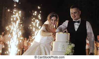 Bride and groom cut the cake and feed each other and laugh...