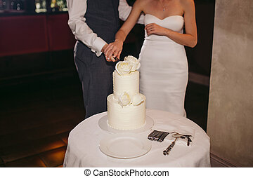 Bride and groom cutting cake at the wedding