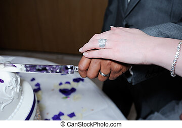 Bride and groom cutting cake closeup