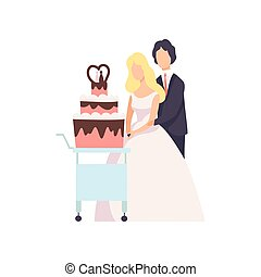 Bride and groom cutting wedding cake at ceremony, couple of newleads vector Illustration on a white background