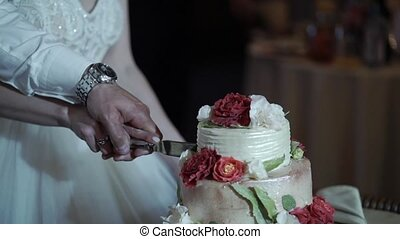 Bride and groom cutting wedding cake - Bride and groom...